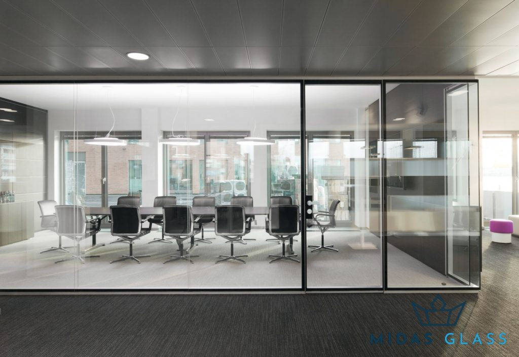 office partition wall midas glass contractor singapore