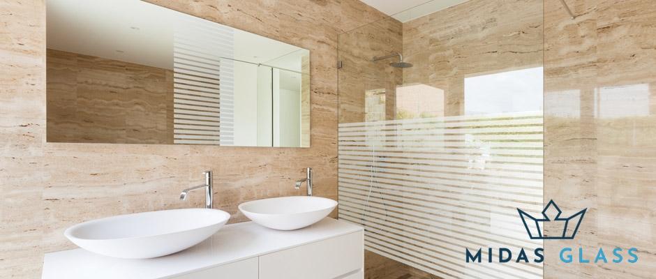 bathroom sandblasted glass design midas glass contractor singapore