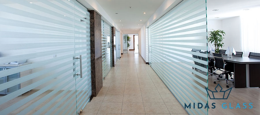 frosted glass office partition midas glass contractor singapore